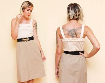 Khaki Tank Dress // Ivory Tan Dress // 80s Handmade Simple Knit Cream Tan Summer Midi Dress Size Small 6 8