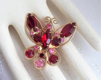 Red Juliana Butterfly Pin - Rhinestone, DE, Juliana, Glass, Delizza, Elster