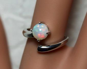 White opal ring, natural opal, opal ring, fire opal, silver opal ring, AAAA opal jewelry, rainbow opal, genuine opal, rare opal, silver ring