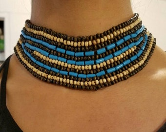 Embroidered Blue beaded necklace, Tribal necklace, Statement necklace, unique necklace, Bohemian necklace, Bead necklace