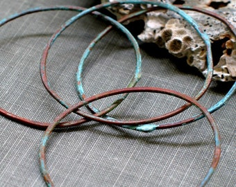 1.5 inch aqua hoops- verdigris patina, connector hoop, aqua green, hammered texture, connector link, earring findings, forged circle