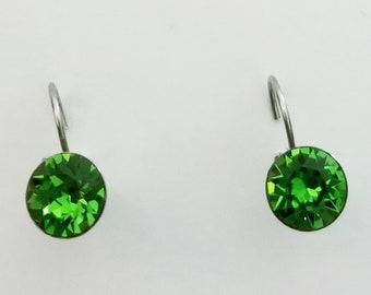 FERN GREEN CRYSTALIZED Swarovski element earrings