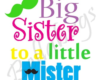 Mustache iron on etsy big sister to a little mister mustache instant download printable digital iron on transfer design solutioingenieria Image collections