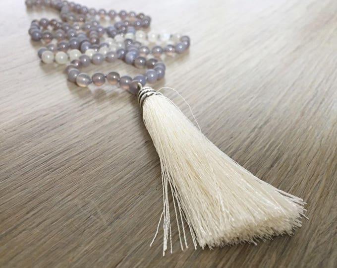 Grey Agate Moonstone Tassel Mala Beads, 108 Mala, Gemstone, Handmade, Hand-knotted, Meditation, Yoga, Prayer Beads, Chakra