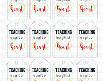 Teaching is a Gift of Heart Tags