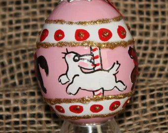 Hand decorated Blown Egg Ornament (Carousel)