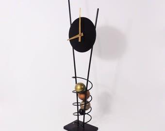 Vintage Post Modern Minimalist Spiral Metal Wire Standing Clock