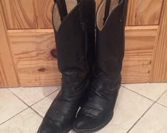 Vintage Tony Lama Black Leather Cowboy Cowgirl Boots Size 7 Women's