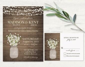Rustic Wedding Invitations Mason Jar Wedding Invitation Printable set RSVP Daisy Wedding Country Barn Wood  lights Digital Template DIY