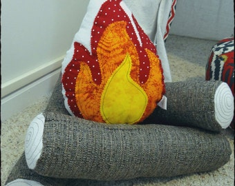 Campfire, Tent Accessory, Teepee Accessory, log pillow, Fire pillow, Made to Order