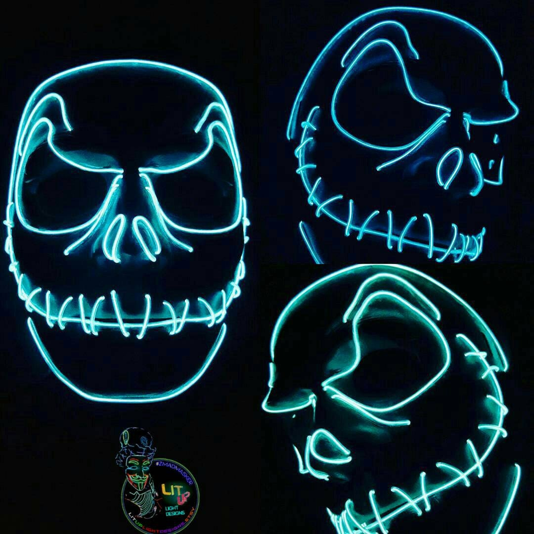 Jack Skellington Style Light Up Mask - 10 Ft of EL Wire