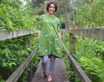 Ladies green bird dress cotton jersey smock 6-16 khaki bluebird jumper leaves pocket birds pockets lounge stretch knit casual