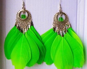 Green Feather Bright Summer Party Earrings