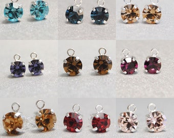 Earrings with crystals and rings