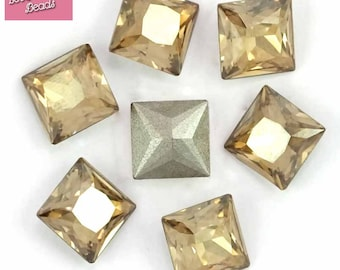 RARE! 2 x Swarovski Crystal 4447 8mm Princess Square Golden Shadow Original Pack
