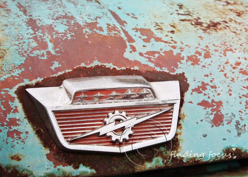 thunderbolt rusted baby blue ford truck emblem photo vintage. Black Bedroom Furniture Sets. Home Design Ideas
