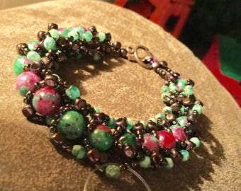 Ruby Zoisite Hand Stitched Beaded Bracelet