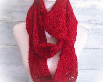 Cowl, red cowl, infinity scarf, Alpaca cowl, neck warmer, linen cowl, scarf, circle scarf, red scarf, crochet neck warmer, gifts for her,