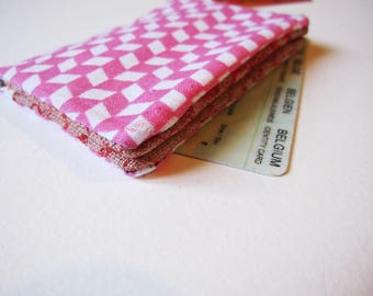 Pink geometric pattern cotton wallet