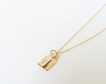 two gold initial tags -  necklace - petite and dainty