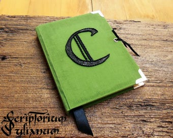 Personalized journal, initial journal, letter C journal, green notebook, lockable journal, closable journal,gift for him her, Mothers day