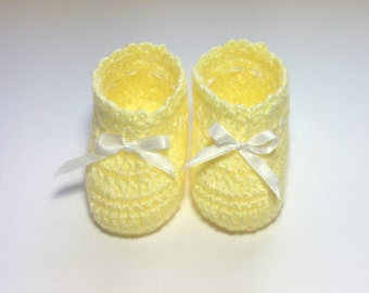 Custom Crochet Baby Booties Yellow Baby Shoes, Newborn to 3 Months and 6 Months to 9 Months Made to Order
