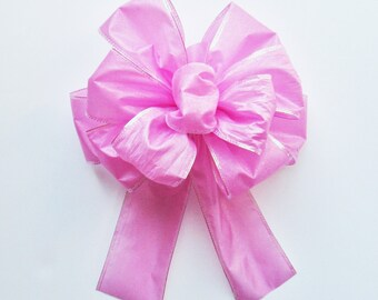 Sparkly Edged Wired Bow - Pink - Wired Bow - 11 Loops - Easter Bow - Party Decoration - Pink Bow