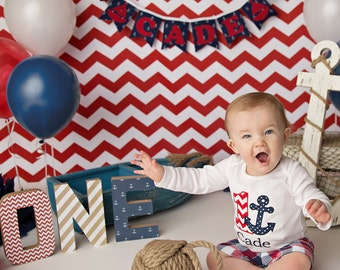 1st birthday boy - Nautical birthday banner - Happy 1st birthday banner - Nautical baby shower - One highchair banner - I am one banner -