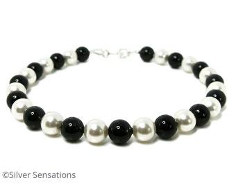 Elegant Jet Black & White Pearls Bracelet With Sterling Silver, Handmade Pearl Bracelet, Swarovski Elements, Bridesmaids Bracelet, Gift,
