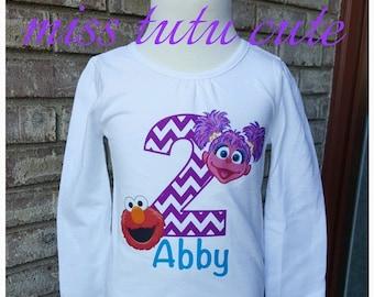 Elmo and Abby 2nd Birthday Shirt!!  Sesame Street Birthday shirt!  2t 3t 4t 5t 6/6x- long sleeve or short sleeve