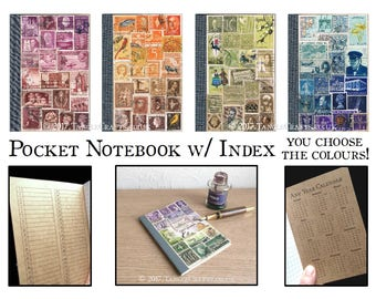 Travel Notebook, A6 Journal | Travel Gift for Writer, Colourful Upcycled Postage Stamp Art | Boho Pocket Travel Journal | Eclectic Notebook