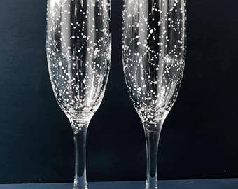 CLASSIC Starry Champagne Flutes - Set of 2 Handpainted Star Constellation Champagne Glasses - Custom Order Your Own Set