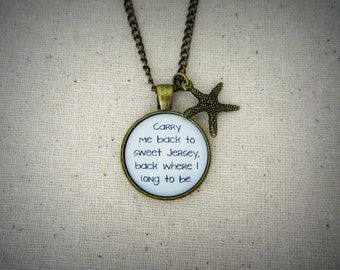 Carry Me Back To Sweet Jersey Handcrafted Pendant Necklace