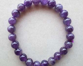 Natural Amethyst Bead Bracelet