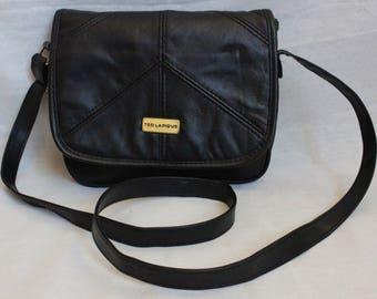 Ted LAPIDUS, purse, clutch, Crossbody, shoulder flap, shiny black leather, patchwork, crossbody, Vintage, hippie, boho