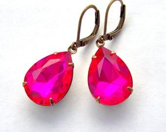 Hot pink rhinestone leverback earrings / rhinestone pear earrings / fuchsia earrings / gift for her / antiqued brass / teardrop earrings