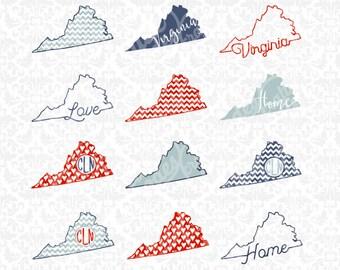 Virginia Svg, Virginia State svg, Virginia outline svg, Virginia patterned svg, Virginia monogram svg, Cricut, Silhouette, Cut File, States