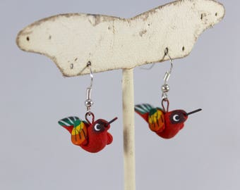 Animal Lover Hand sculpted Clay Earring-Handpainted-Handmade-Bird-Mouse-Hummingbird-Turtle-Monkey-Pig-Summer-Dangle-Unique-Women-Zoo
