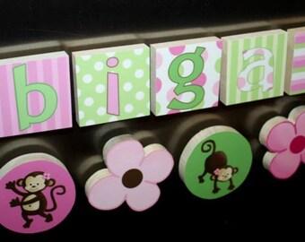 Pink Pop Monkey Girls Name Magnets Fridge Bedroom Magnets NM0007