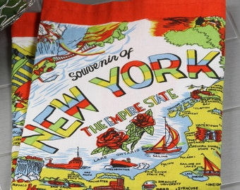 New York Towel | New York Kitchen Towel | New York Tea Towel | New York Flour Sack Towel | Vintage New York Towel | State Towel