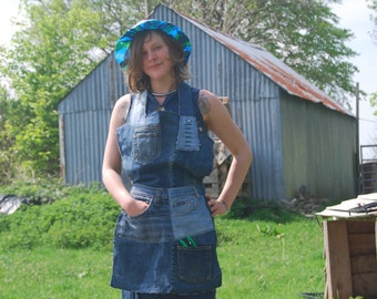 Blue Jeans Apron made from Recycled Materials