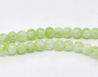 PV21BIS - Set of 50 glass beads 4mm pale green marbled white row of 80cm