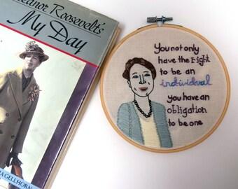 Eleanor Roosevelt Embroidery Hoop