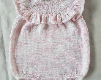 Hand-knitted 100% cotton 4ply ruffle romper suit in pale pink/white 3-6 months