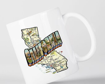 California Map Vintage Style San Francisco Los Angeles Mug M1350