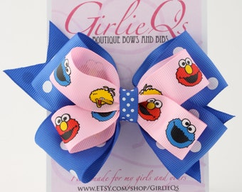 "Sesame Street Cookie Monster Elmo Big Bird Hair Bow Hair Clip 5"" x 4"" Blue and Pink"