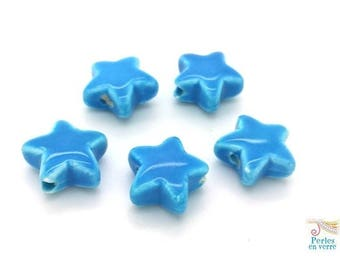 TURQUOISE: 5 8x14x15mm (pc158) star-shaped ceramic beads