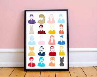 Wes Anderson Movies Print, 8.5x11 inches