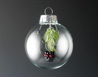 Glass Blackberry Christmas Ornament lampwork bead ornament hand blown glass art Birthday gift, Mother's Day gift for gardener, cook, chef