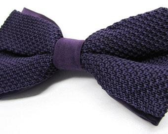Mens Knitted Bowties. Grape Purple Men's Knit Bow Tie